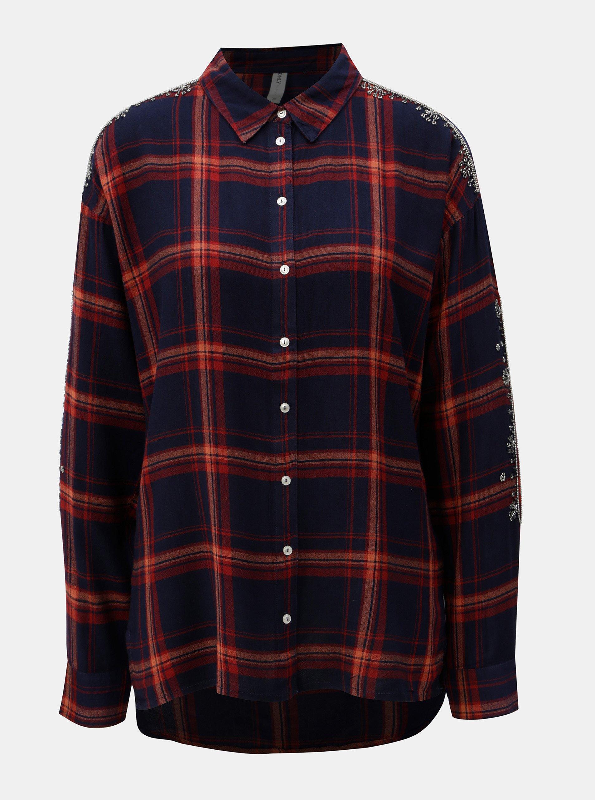 40dbb7efb106 Červeno–modrá kockovaná košeľa s korálkami na rukávoch ONLY - Glami.sk