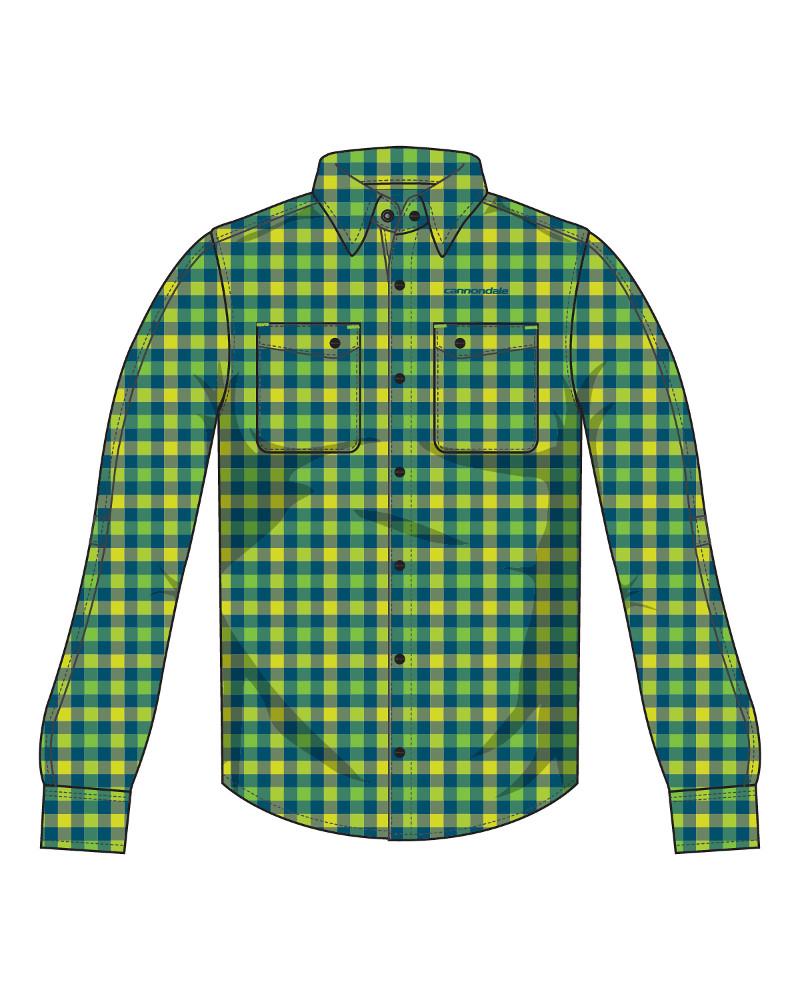 Cannondale Shop Shirt pánská košile dlouhý rukáv zelená kostka ... 784ea206ff