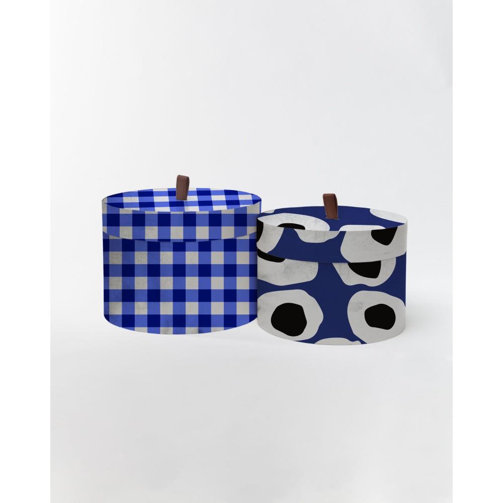 ad774382d Sada 2 okrúhlych úložných boxov zo zamatu Velvet Atelier Vichy ...