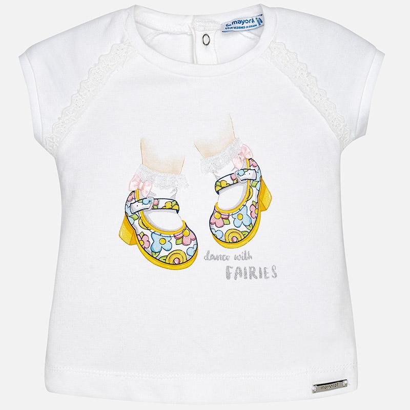 2d2c1e850f1 MAYORAL dívčí tričko s potiskem a krajkou - bílo žluté - Glami.cz