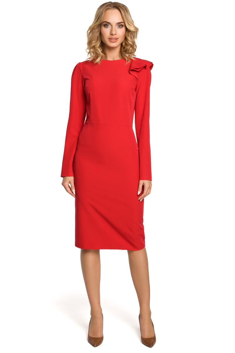 d502b69328c Elegantní pouzdrové šaty MOE 326 červené - Glami.cz