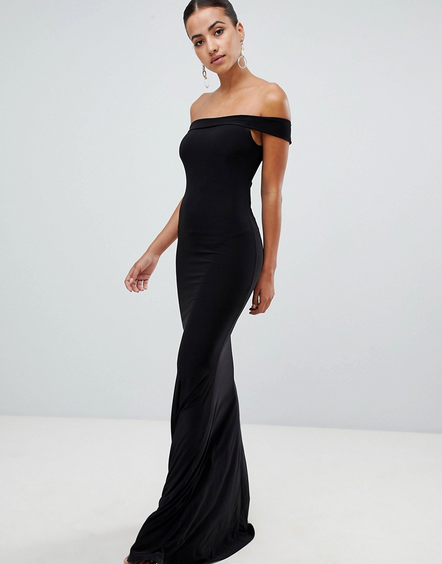 1566dbd2410b Club L London Club L bardot fishtail maxi dress - Black - Glami.cz