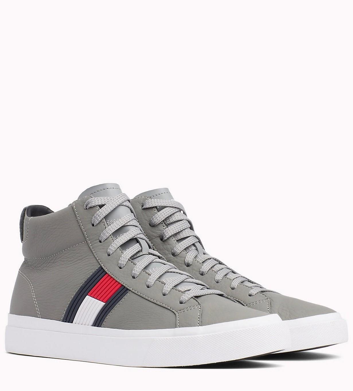 8033b8b13874 -5% -20%. Tommy Hilfiger šedé kožené unisex tenisky Flag Detail High Leather  Sneaker ...
