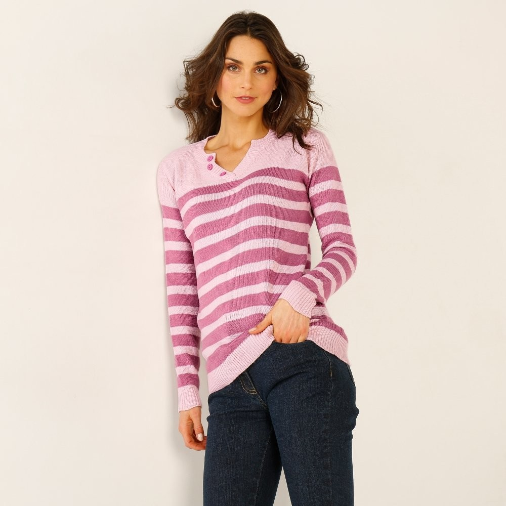 040e024f8d1c Blancheporte Pruhovaný pulóver s tuniským výstrihom ružová purpurová 34 36