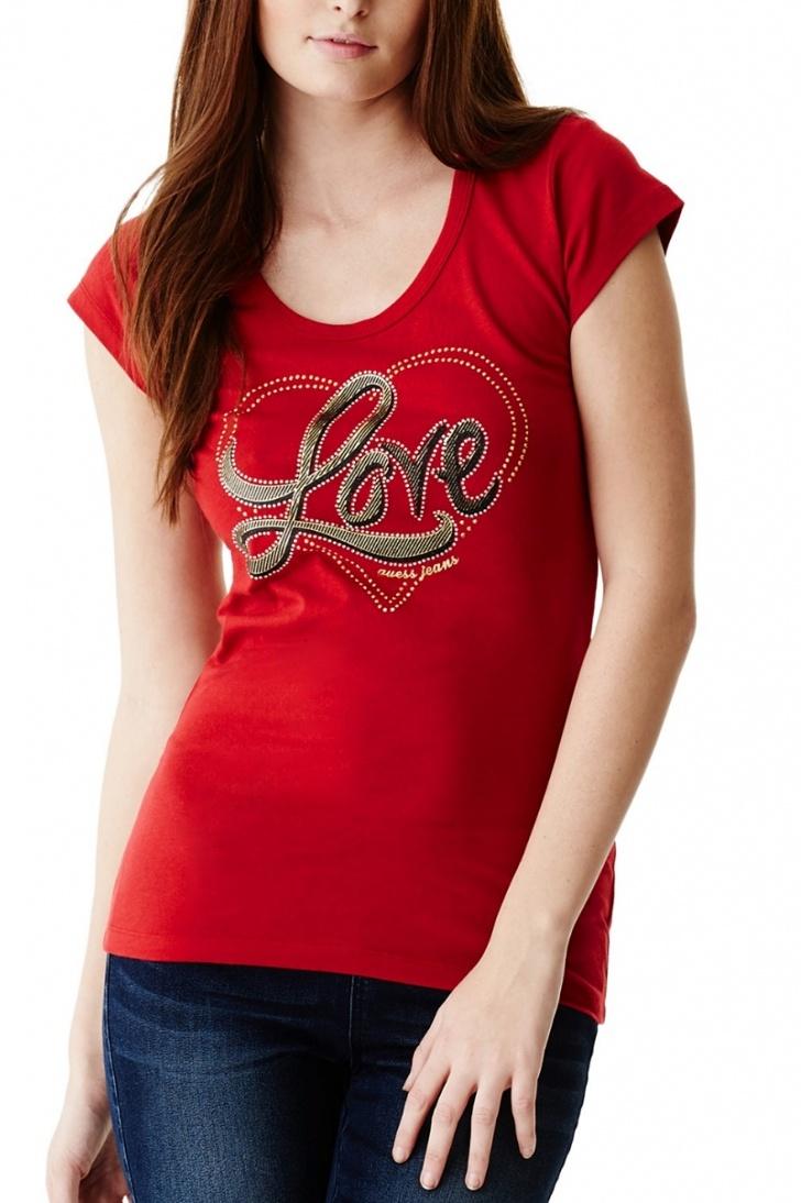 62c1564a77ea ... dámské tričko Charlene Love červené. -10%. Guess ...