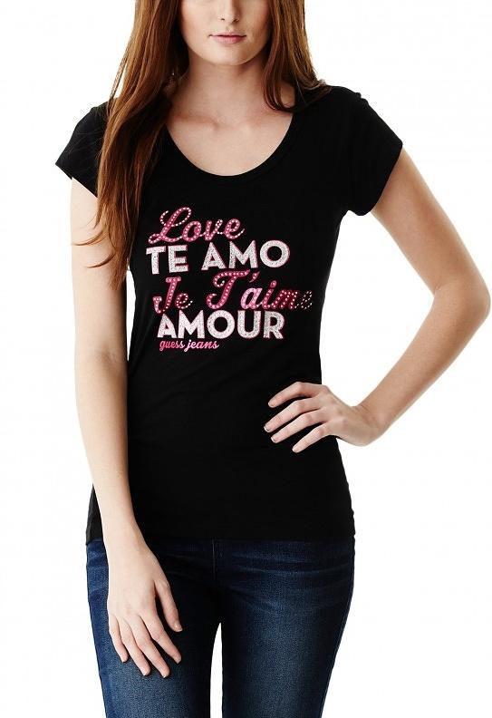 93b51f9ffc ... Guess dámské tričko Charlene Love černé. -10% -17%