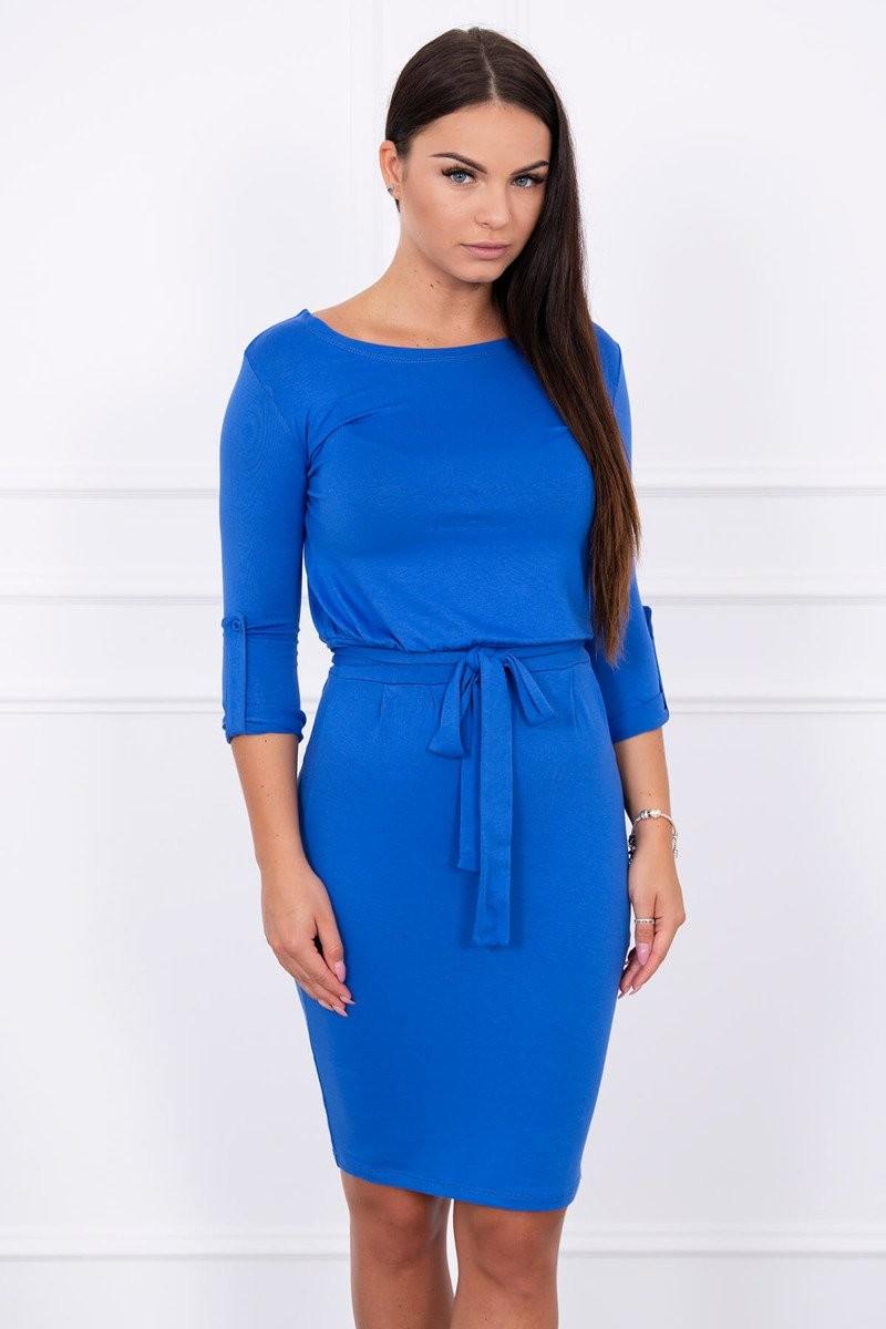 5cf000bac609 MladaModa Obtiahnuté šaty s viazankou v páse model 8925 farba kráľovská  modrá