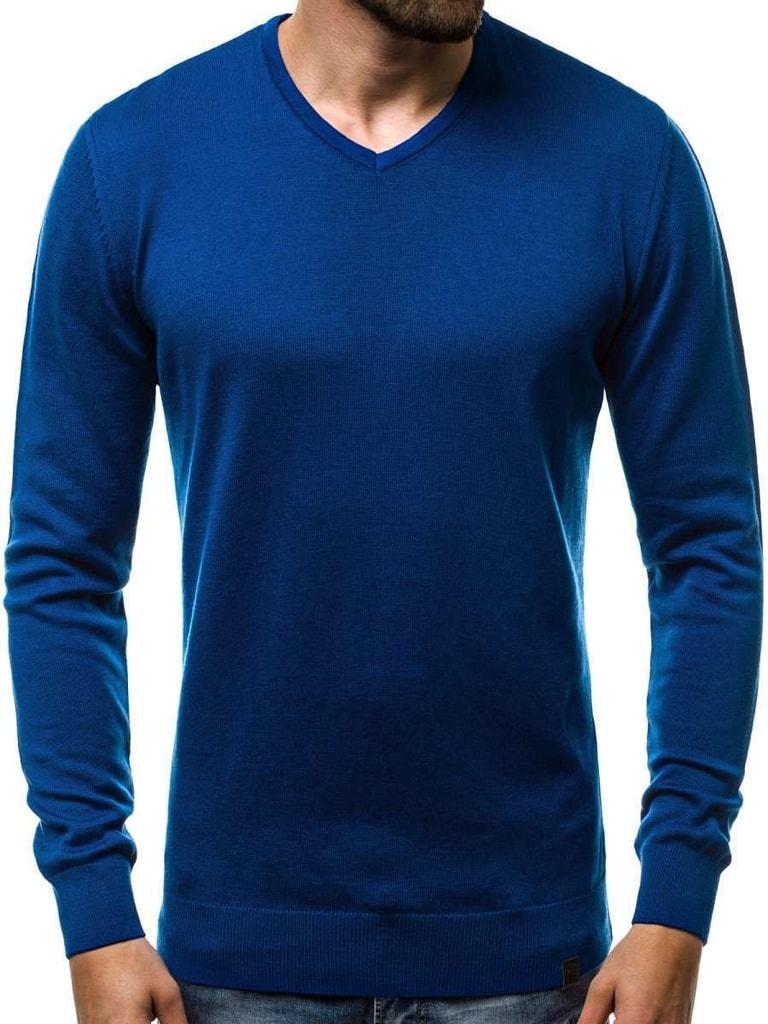 f66c7844a57 Pohodlný nebesky modrý svetr v jednoduchém provedení OZONEE B 2390 ...