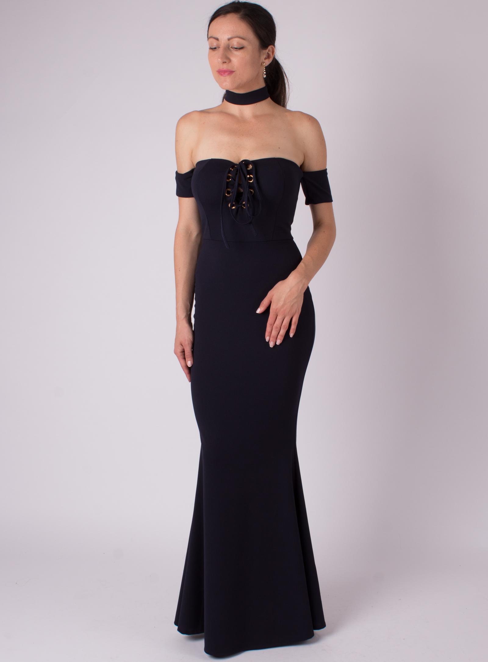 MODA ITALIA Tmavo modré dlhé spoločenské šaty s odhalenými ramenami ... 90895cf9b56