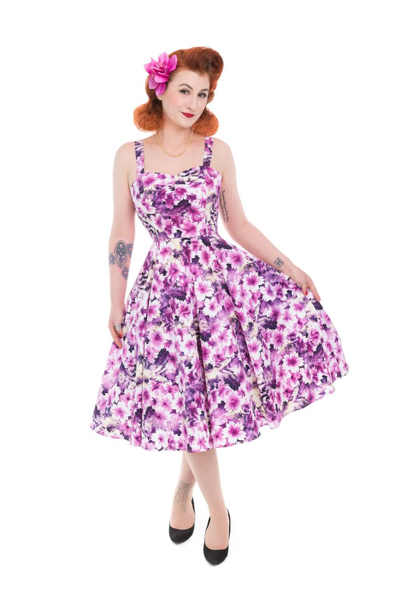 fcd47225414f Dedoles Retro pin up šaty Fialové květy XL - Glami.cz