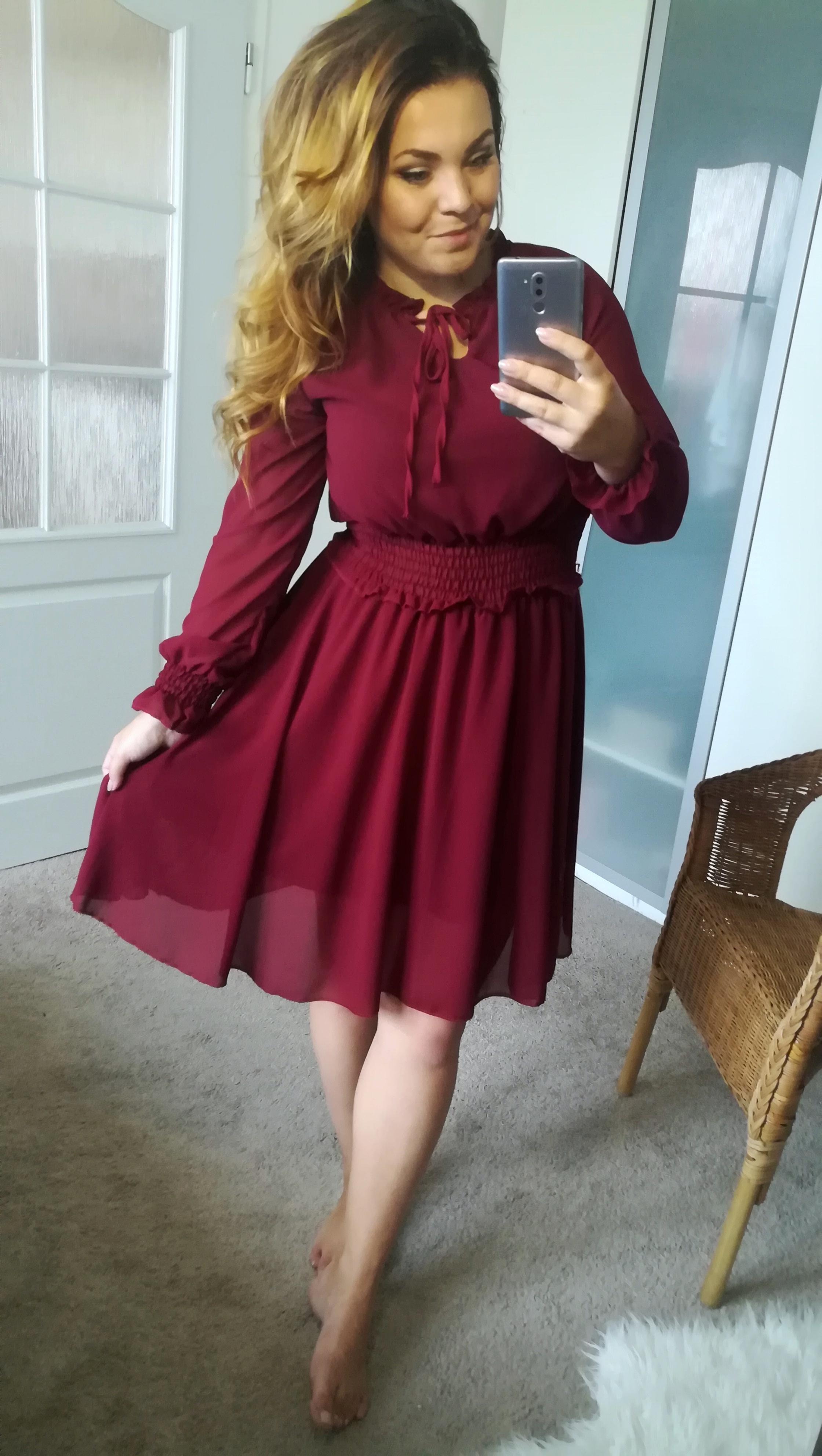 Šifonové šaty s dlouhým rukávem bordó - Glami.cz 5978cbc29c