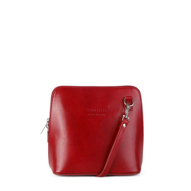 ITALSKÉ Trendová kožená kabelka crossbody Italská červená Milana ... 6fd4dd4dc9e
