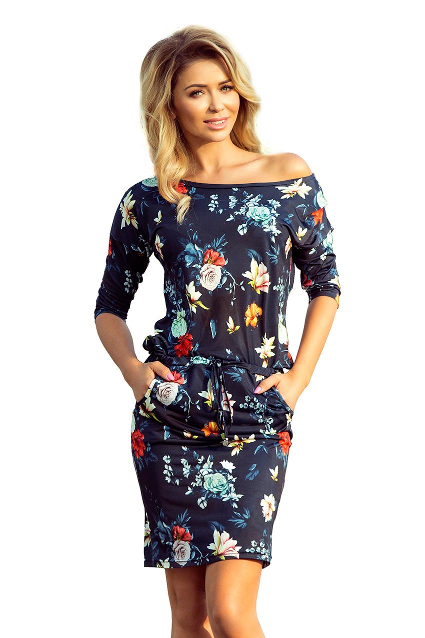 Lafira dámské modré květinové šaty 13-91 - Glami.cz 43ede6a715