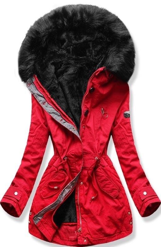 MODOVO Női téli kabát kapucnival B-73 piros - Glami.hu b1a35bd63e