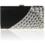 LightInTheBox Jiminy Women's Simple Diamonade Evening Clutch Bag(Black)