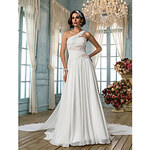 LightInTheBox A-line/Princess One Shoulder Court Train Chiffon Refined Wedding Dress