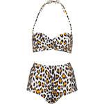 Topshop Leopard Push Up Bikini Top and Big Pant