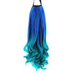 LightInTheBox Ribbon Tied Blue Colorful Color Long Curly Synthetic Ponytail Hair Extensions