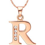 LightInTheBox Fashion R-Logo Alloy Women's Necklace With Rhinestone(1 Pc)(Gold,Silvery)
