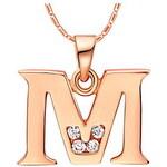LightInTheBox VintageM-Logo Alloy Women's Necklace With Rhinestone(1 Pc)(Gold,Silvery)