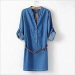 LightInTheBox Women's Casual Long-sleeve Slim Denim One-piece Dress with Belt
