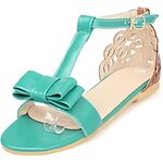 LightInTheBox Faux Leather Women's Flat Heel Open Toe Sandals with Bowknot Shoes(More Colors)