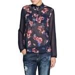 Mango Contrast sleeve floral blouse