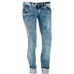 Terranova Marble-effect jeans with pearls