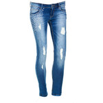 Terranova Ripped jeans with rhinestones