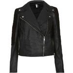 Topshop Suede Panelled Leather Biker