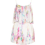 Topshop **Printed Silky Frill Front Playsuit by Oh My Love