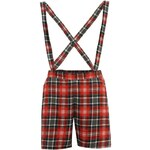 Miso All Over Print Dungaree Shorts Ladies Red/Blk Tartan 8 (XS)