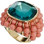 Johnny Loves Rosie Coral Bead And Stone Ring