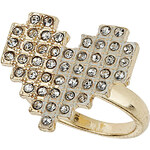 Topshop Rhinestone Pixelated Heart Ring
