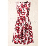 Vixen 50s Floral White Red Dress