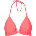 Topshop Coral Textured Triangle Bikini Top