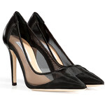 Diane von Furstenberg Leather/Mesh Bianca Pumps in Black