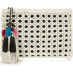 Topshop Leather Woven Tassel Clutch