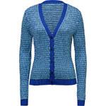 Jonathan Saunders Knit V-Neck Cardigan in Turquoise/Cobalt
