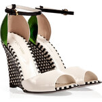 Sergio Rossi White/Black Woven Leather Wedges with Green Metal Back