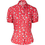 Olympia Le-Tan Cotton Blend Greta Blouse in Red