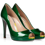 Sergio Rossi Grass Green Patent Leather Peep-Toe Pumps