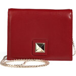 Valentino Leather Shoulder Bag with Rockstud Closure in Red