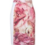 Preen White-Multi Peony Print Stretch Pencil Skirt