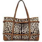Valentino Nougat and Ivory Bi-Fabric Tote with Animal Print