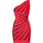 Hervé Léger Lipstick and Cranberry One-Shoulder Bandage Dress