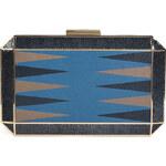 Anya Hindmarch Leather Duke Backgammon in Blue/Navy Velvet