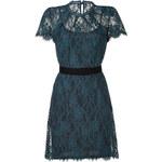 Collette Dinnigan Teal Floral Lace Short Sleeve Dress