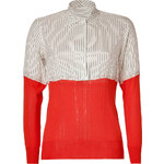 Paul Smith White/Red Mixed Media Silk Top
