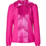 Anna Sui Hot Pink Ruffle Crepe Top